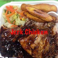 Jerk Chicken Plate #oxtails #riceandpeas #riceandbeans #plantains #jamaicanfood by willsjamaicancuisine