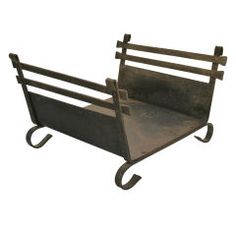arts and crafts mission period wrought iron log holder - Fireplace Log Holder