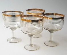 4 vintage Art Deco champagne coupes or cocktail glasses gold bands cylinders