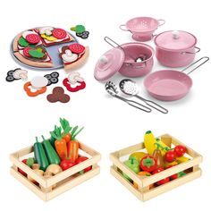 QUICK SHOP: Pink Cookware, Fruit & Veg Boxes, & Pizza - Play Food - Toys