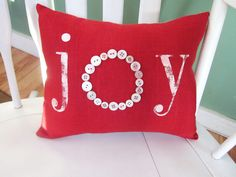 Holiday pillow, christmas pillow,  shabby chic, farmhouse decor,joy, buttons pillow, red holiday decor., accent pillow. $22.00, via Etsy.