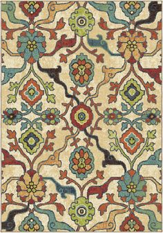 Bring a pop of brightness to your living space with the Tibet Floral Rug by Orian Rugs. Woven out of durable polypropylene, this gorgeous rug features a pattern of exotic flowers in bright shades of teal, green, and lime. Coastal Area Rugs, Floral Area Rugs, Floral Rug, White Rug, White Area Rug, Shades Of Teal, Natural Area Rugs, Traditional Design, Rug Size