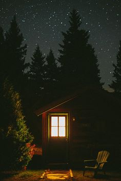The Marcy Cabin at night under a starry sky at Mt. Van Hoevenberg Bed and Breakfast, Lake Placid NY. by winecoloredhair