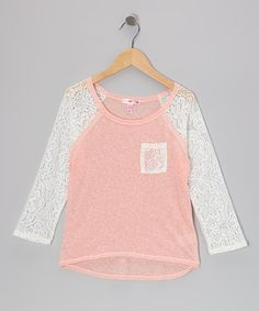 Take a look at this Coral Lace Raglan Top by Sugar Tart on #zulily today!