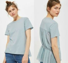 Topshop Back Belted Tshirt Top Womens US Size 4 Blue Tulle Rolled Hem Raw Edge #Topshop #Basic #Casual Tulle Rolls, Rolled Hem, Raw Edge, Underarm, Topshop, Blouses, Belt, Casual, T Shirt