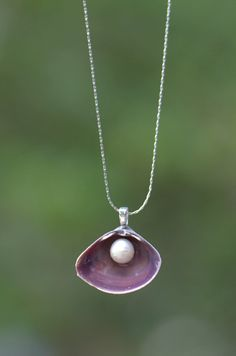 Real Purple Seashell Pendant Necklace with Freshwater White Pearl- Silver Platinum 18 inch Chain Beach Wedding Mermaid Bridesmaid Favor Gift via Etsy