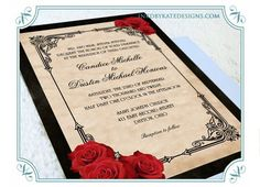 wedding invitations red, black gold | Vintage Black and Red ...