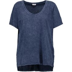 Splendid Distressed cotton T-shirt ($67) ❤ liked on Polyvore featuring tops, t-shirts, navy, cotton t shirts, loose t shirt, loose tee, navy blue t shirt and ripped tee