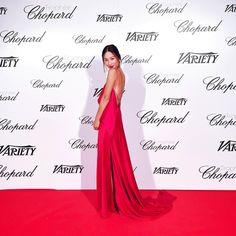 Nicole Warne in Michael LoSordo silk dress - Trophee Chopard @ 2015 Cannes Film Festival.  (May 2015)