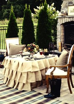 for a covered patio outdoor area tablecloth for special occasions made from outdoor fabric.. great plaid for color