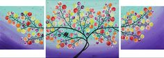 """""""Lavender Evening"""" by QIQIGallery 44""""x16"""" Original Painting Birds Painting Wall Décor Wall Hangings Office Wall Art for Sale by Artist"""