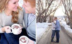 Left Photo: Love the neutral colors and cocoa! | 15 Ideas for Oh-So-Cozy Winter Engagement Photos via Brit + Co.