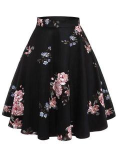 Retro Hepburn Vintage Women Skirt Floral Print Spring Summer Knee Length Skirt Cotton High Waist Swing Party Skirts Faldas Saia Color Black Size S Vintage Gowns, Vintage Skirt, Cute Skirts, Cute Dresses, Retro Skirts, Fall Dresses, Swing Rock, Gown Skirt, Ruffle Skirt