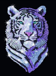 Sequin Art Snow Tiger Craft Kit Create your Sequin Art Pictures from easy to fol… Button Art, Button Crafts, Toy Craft, Craft Kits, Art Tigre, Kit Creation, Snow Tiger, Sequin Crafts, Tiger Crafts