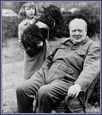 Winston Churchill with Diana Hopkins, 1941. During the Second World War, Prime Minister Winston Churchill visited the White House so frequently that staff members learned to anticipate his likes and dislikes. In late December 1941, Churchill posed on the lawn with Diana Hopkins, daughter of presidential aide Harry Hopkins, and Fala, the president's Scottie. (White House Historical Association)