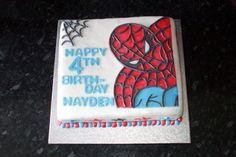 """This is my sons birthday cake he changed his mind about 10 times before deciding on spiderman then just as i was 3 quarters done he said """"i wanted batman"""" Spiderman Birthday Cake, Spiderman Theme, Birthday Cakes, My Son Birthday, Boy Birthday Parties, Birthday Ideas, Macarons, Cakes For Boys, Party Time"""