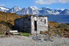 Hut on one of the small islands in Beagle Canal close to Ushuaia in Patagonia, Tierra del Fuego, Argentina.