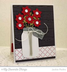 handmade card from The Scalloped Edge ... mason jar die cut in vellum with die cut flowers ... luv the black and gray woodgrain backgroun ... great card!