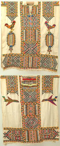Africa | Bamana Shirt. A cotton shirt embroidered in cotton in green, red, black, yellow and featuring roosters in the front and airplanes in the back amid geometrical fields. Worn by the Bamana tribe of Mali and Ghana. | ca. 1950, Mali | Cotton