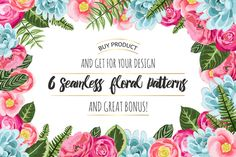 Check out Set of 6 seamless flower patterns by DaryaGribovskaya on Creative Market Wedding Invitation Cards, Wedding Cards, Valentine Poster, Hand Drawn Flowers, Flower Patterns, Design Elements, Vector Free, Decoupage, Frames