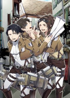 Shingeki.no.Kyojin.Attack on Titan - Zoe Hanji Eren Jaeger and Levi