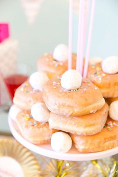 Celebrate a birthday brunch with this adorable (and irresistable) donut cake