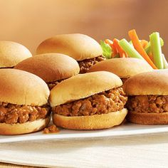 easy-peasy sloppy joe sliders - ground beef, chopped onion, bbq sauce, mustard,  worcestershire. lunch/dinner is on the table in under 30 mins! #BBQ #Barbeque #Grills #BBQRecipe #BBQAprons
