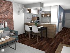 Głęboki błękit i zimny beton - Mała otwarta kuchnia w kształcie litery u z wyspą, styl skandynawski - zdjęcie od Pracownia Kardamon