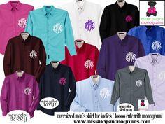 cool and cheaper (http://misslucysmonograms.com/oversized-mens-monogrammed-shirt-for-brides-bridesmaids-college-girls-ladies/)