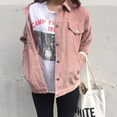 Pink jacket with graphic t-shirt. See more at www.herstyledview.com