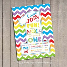 Hello, welcome to Little Apples Design!    Rainbow Birthday Party Invitation Digital Printable - This listing is only for 1ST BIRTHDAY ONLY.