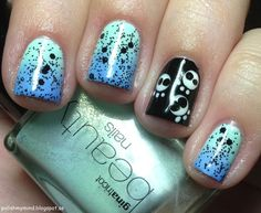 Inspired by IG? Hell yeah!     Gina Tricot Shimmer Mint, Shimmer Mint and IsaDora Scuba Blue, Nubar Black Polka Dot, Essie Blanc.