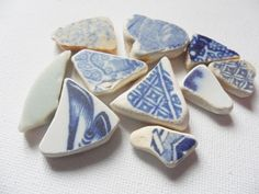 Blue and white 10 pieces northumberland sea pottery - Lovely English beach find pieces by UKSeaGlassStore on Etsy My Etsy Shop, Blue And White, Pottery, English, Sea, Projects, Ceramica, Log Projects, Blue Prints