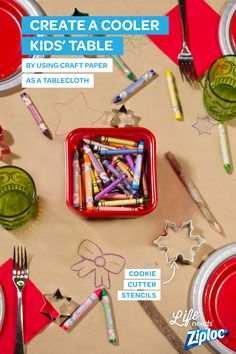 Turn the kids' table into the best seat in the house with a few easy upgrades. Line the tabletop with craft paper, set out crayons in Ziploc® containers, add a few holiday cookie cutters as stencils, and let them go to town. The kids' will stay busy coloring and playing tic-tac-toe, and you can enjoy your dessert!