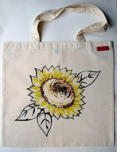 Sunflower Design Organic Cotton Hand Painted Tote Bag.