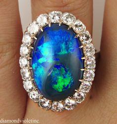 Reserved. 10.85ct Antique Vintage Edwardian Australian Lightning Ridge Black Opal Diamond Cluster Engagement Wedding Ring Platinum