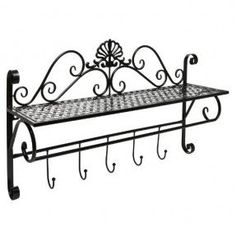 Resultado de imagem para Wrought iron wall shelving racks / hooks / wall murals / racks / flower bracket spot