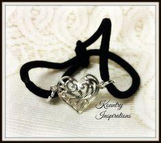 Ponytail Holder/ Hair Elastic Tie/ Filigree Heart Bracelet / Pony Tail Holder/Arm Candy Hair/Bracelet / Pony Tail Holder