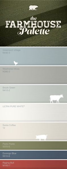 About Farmhouse Farmhouse color palette-Greenwich Village for downstairs bedrrom and weathered moss for the bathroom.Farmhouse color palette-Greenwich Village for downstairs bedrrom and weathered moss for the bathroom. Farmhouse Paint Colors, Rustic Paint Colors, Farmhouse Color Pallet, Kitchen Paint Colours, Bher Paint Colors, Kitchen Color Schemes, Rustic Color Schemes, Behr Exterior Paint Colors, Farmhouse Front Doors