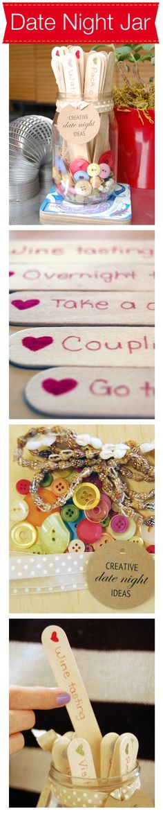 DIY Date Night Ideas Jar: Valentine gifts don't have to be expensive...it's the simple pleasures of life that counts.