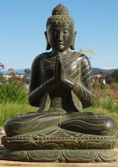 """View the Stone Namaste Buddha Statue 28"""""""