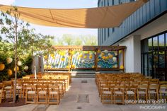 outdoor ceremony, hotel indigo athens, spring wedding ceremony, wood, modern, athens wedding locations, gorgeous venues, hotel wedding, stylish decor, wedding design :: Katie + Derek's Wedding at Hotel Indigo in Athens, GA :: with Chad + Tina