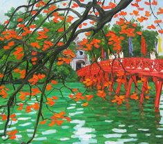 The Red Bridge, 24 x 32 Vietnamese commission original oil painting by Phuong Le -  $179.00 .  This is an unframed, actual hand-painted reproduction on canvas from my original oil painting. Rolled and delivered in a hard tube ready for framing
