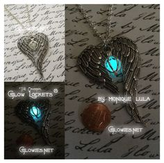 Two ornate and vintage style angel wings drape in a heart shape around one of my Orb Glow Lockets ® to create a magical necklace unlike any other,... see more pics in the shop at glowies.net
