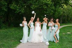 Fun bridesmaids pose
