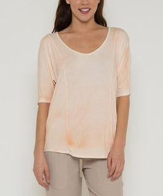 Look what I found on #zulily! Coral Sheer-Back Scoop Neck Top by Morning Apple #zulilyfinds