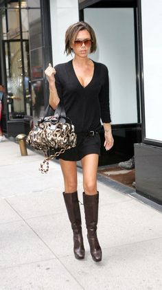 Large sweater with low belt and boots.... Probably should wear leggings... Victoria Beckham