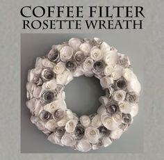 Rosette Wreath from Coffee Filters and Sheet Music - Rosette Wreath from Coffee Filters and Sheet Music Coffee filters were used to craft these rosettes – and sheet music. A lot of bang for your crafter's buck. Coffee Filter Projects, Coffee Filter Crafts, Coffee Filter Roses, Coffee Filter Wreath, Wreath Crafts, Diy Wreath, Wreath Ideas, Wreath Fall, Wreath Making
