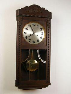Antique German Junghans Wall Clock from 1928 (Gustav Becker era) Antique Wall Clocks, Old Clocks, Tick Tock Clock, Time Stood Still, Air Purifier, Grandfather Clocks, Flooring, Tic Tac, Watches