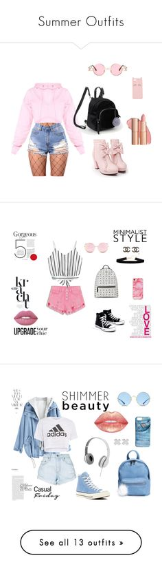 """Summer Outfits"" by oviyaa-t on Polyvore featuring WithChic, Charlotte Russe, Madewell, MCM, Matthew Williamson, adidas, Nobody Denim, Converse, BP. and GUESS"